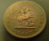 1857 CANADA PENNY  Bank Token  Bank of Upper Canada Foreign Coin One Penny 1c