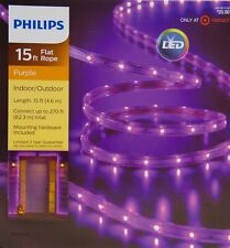 Halloween Philips 15 ft Purple Flat Rope Lights Indoor/Outdoor NIB