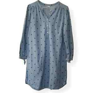Old Navy   Blue Chambray Polka Dot Shirt Dress Sz S
