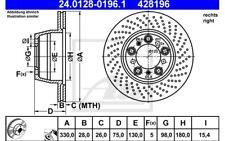 ATE Disco de freno x1 Eje trasero derecha 330mm Ventilador/perforado 24.0128-