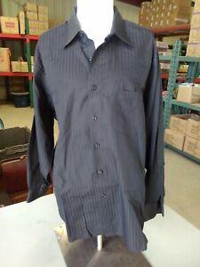 Van Heusen Black Sateen Stripe 18 1/2, 34/35 2XL Wrinkle Free. S5