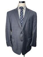 Peter Millar Mens Gray / Blue Plaid Wool Suit Jacket Sport Coat 48R