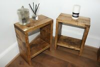 Rustic Solid Wood Pair of Side Tables Bedside Lamp End Table Handmade Rustic Oak