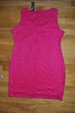 NWT Womens TIANA B. Hot Pink Lace Sleeveless Dress Size L Large $98