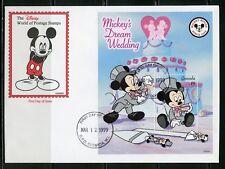 Disney Grenada Mickey'S Dream Wedding 1999 Souvenir Sheet Ii First Day Cover