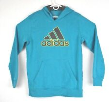 Adidas Mens Sz Large Essentials Hoodie Sweatshirt Teal Spell Out Originals