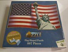 2001 Wrebbit PERFALOCK USA FLAG SHAPED Puzzle NEW SEALED 887pcs STAYS TOGETHER