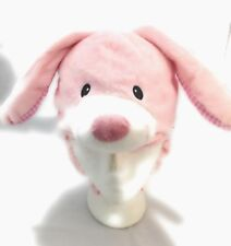Toddlers Children Winter Soft Plush Animal face Custom Beanie Hat Pink Bunny