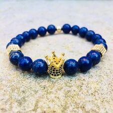 UK 18k Gold Plated Crown Spacer Beaded Bracelet Natural Gemstone Lapis Lazuli