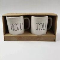 Rae Dunn Holly Jolly Mugs LL Large Letter Farmhouse Christmas Ceramic Ivory New