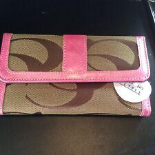 CC Print Khaki Pink Checkbook Wallet NWT