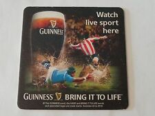 Beer Coaster: GUINNESS Stout ~ Watch Live Sport Here ~ Soccer = Football Game UK