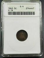 1845 P Liberty Seated Half Dime Variety ANACS G4 Valentine-1A V-1A Die Crack REV