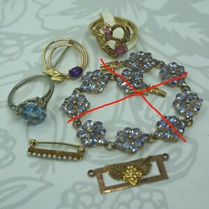 Bracelet Sold* Dealer Lot Vintage 10k 14k Gold Gemstone Diamond Ring Jewelry