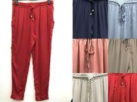 Ex High Street Lightweight Summer Elasticated Waist Trousers 6 Colours Size 4-20
