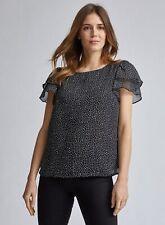 Dorothy Perkins Womens Black Spot Double Ruffle T-Shirt Short Sleeve Blouse Top