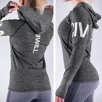 Womens Long Sleeve Sport Hoodie Shirt Tops Fitness Gym Running Yoga Quick Dry US
