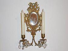 VTG Brass 2 Arm Nude Angel/Cherub Crystal Prism Candle Holder Wall Mirror Sconce
