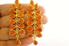 Orange Chalcedony Gold Vermeil Chandelier 925 Sterling Silver Dangle Earrings