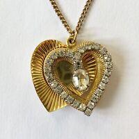 Heart Shaped Gold Tone Crystal Rhinestone Vintage Sliding Locket Necklace