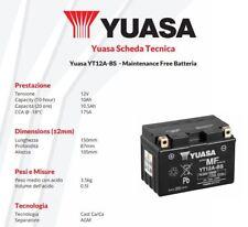 BATTERIA DE MOTO YUASA YT12A-BS 12V 10AH Benelli el Tornado 900 cc años: 00>