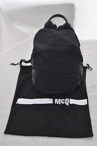 MCQ Alexander McQueen Hyper Logo Black Silver Zip Rucksack Backpack Bag Unisex