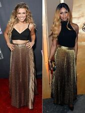 $495 Alice + Olivia Katz  Gold Pleated Metallic Silk Maxi Long Dress Skirt XS 2