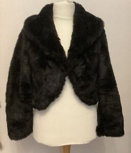 Black Faux Fur Bolero Short Jacket Size 14 Ex Condition