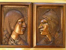 AYMARA Indian G ARIAS Bas Relief Wood Carving Panel Plaque c.1950s BOLIVIA