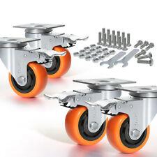 More details for 4pcs heavy duty 600kg 100mm rubber swivel castor wheels furniture trolley caster