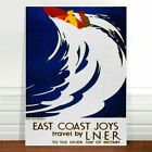 "Vintage UK Travel Poster Art CANVAS PRINT 8x12"" East Coast Britain Boat"