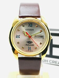 Vintage Citizen Day And Date Automatic Movement Japan Made Men's Wrist Watch