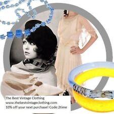 Vintage Blue Glass Gold Accents Art Deco 1920s Bangle Bracelet
