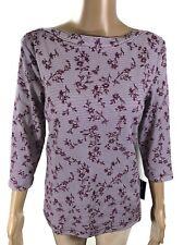 NWT Karen Scott Top Womens Petite Size L Merlot Floral 3/4 Sleeve Pullover Shirt