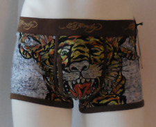 Ed Hardy Men's Tiger Collage Cotton Stretch Trunks Color Brown Size L
