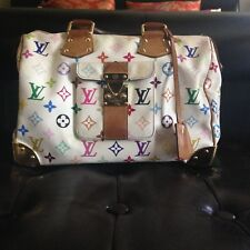 LOUIS VUITTON White Multicolor Murakami Monogram Canvas 'Speedy 30' Handbag