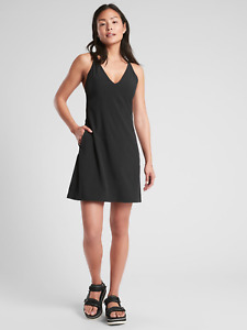 ATHLETA WOMEN'S 446814 SEXY BLACK BACKLESS BREATHE IN DRESS $89.00 NWT 4 6 12 16