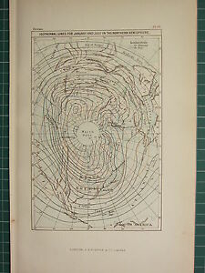 c1890 ANTIQUE MAP ~ ISOTHERMAL LINES FOR JANUARY & JULY NORTHERN HEMISPHERE