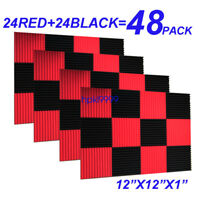 """48Pack 12""""X12""""X1"""" RED BLACK Acoustic Foam Panel Studio Soundproofing Wall Tiles"""