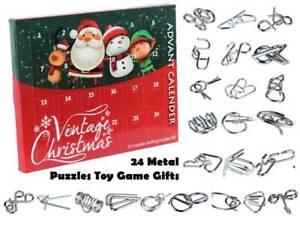 Christmas Advent Calendar  24 Days Countdown Kongming Lock Gift Boy Metal Puzzle