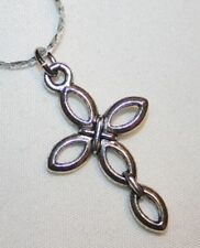 Petite Loop Armed Tied Center Silvertn Cross Pendant Necklace ++++