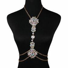 Luxury Bikini Body Chain Rhinestone Crystal Gem Pendant Harness Necklace Jewelry
