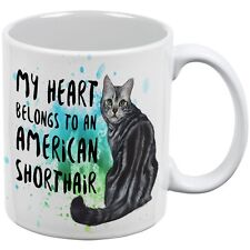 My Heart Belongs American Shorthair Cat White All Over Coffee Mug