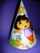 DORA THE EXPLORER BIRTHDAY PARTY  HATS  PK8 NEW!
