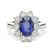 3.68 ct BLUE SAPPHIRE ROUND CUT DIAMOND ENGAGEMENT RING