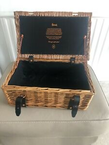 Harrods Wicker Hamper picnic basket buckle closing