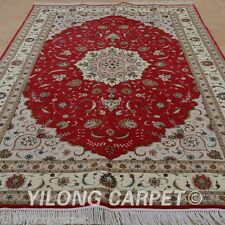 YILONG 6'x9' Handmade Wool Silk Rug Hand-knotted Red Persian Carpet Designs 1476