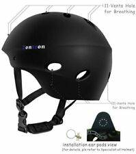 Tontron Water Sports Helmet with Ear Protective Pads, Medium, Matte Black, NOP