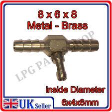 T PIECE 8x6x8 Metal push on pipe hose vacum gas lpg carburettor water liquid air