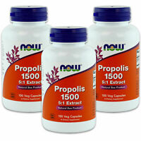 3 x NOW Propolis 300 mg 100 Caps, Nutrient Rich Super Food, FRESH, Made In USA